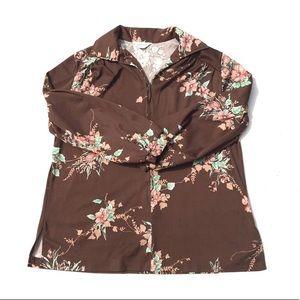 Vintage 1970s Brown Tiki Floral Zip Up Shirt XL
